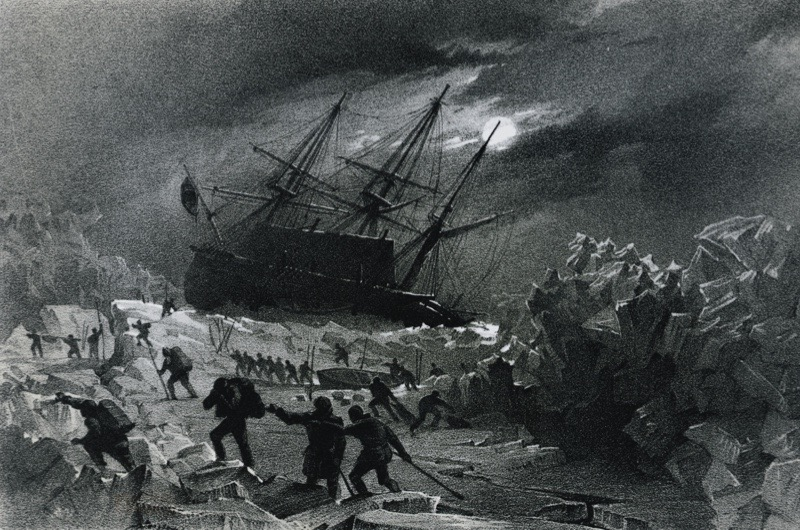 UNSPECIFIED - JANUARY 16: Crew of the HMS Terror, stuck in the ice and commanded by the British admiral George Back (1796-1878), salvaging lifeboats and provisions east of the Frozen Strait, during the Frozen Strait Expedition, 1836-1837. Yellowknife, Prince Of Wales Northern Heritage Centre (Photo by DeAgostini/Getty Images)