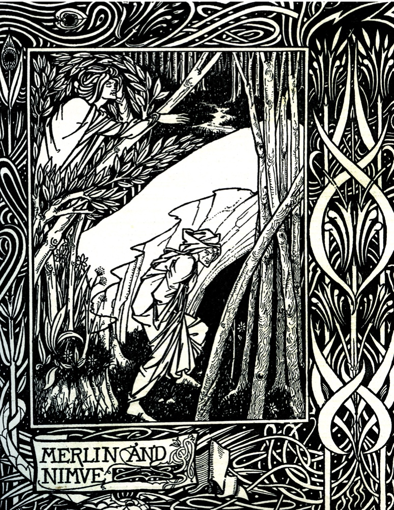 Merlin and Nimue. Nimue casts a spell over Merlin, confining him to a cave forever. Le Morte d'Arthur - novel by Thomas Malory: c. 1405 – 14 March 1471. Illustration by Aubrey Beardsley: 21 August 1872 –16 March 1898.