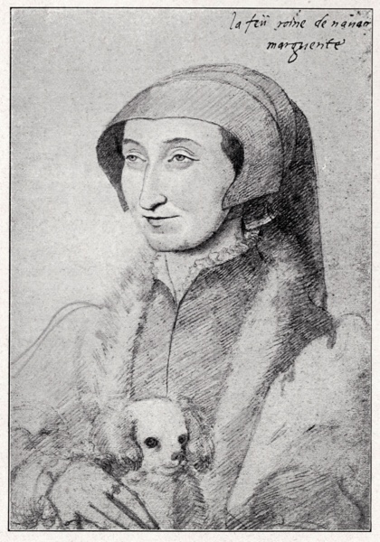 Marguerite de Navarre with lapdog. Renaissance portrait in pencil. 16th century drawing. Bibliotheque Nationale. 14 May 1553 - 27 May 1615. Royalty, Queen of Navarre, married to King of Navarre, later Henry / Henri IV. Sister of Francois I. Learned, accomplished authoress.