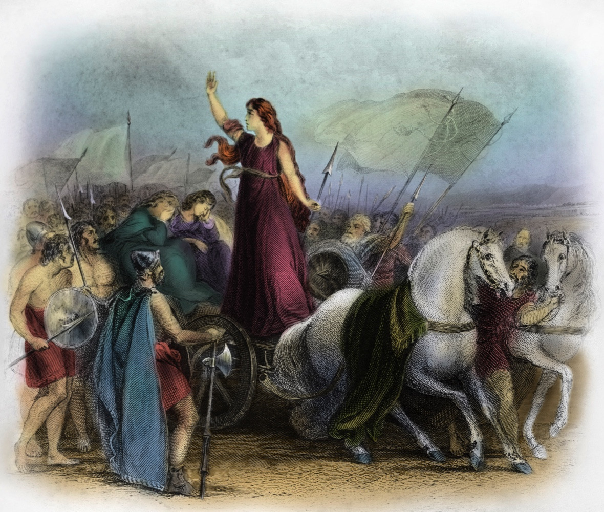 Boudica or Boadicea, Queen of the British Iceni tribe, a Celtic tribe who led an uprising against the occupying forces of the Roman Empire. Caption reads: 'Boadicea haranging the Britons.' Boudica died circa AD 60 or 61.