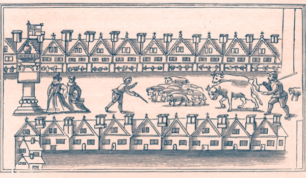 Eastcheap Market pictured in 1598. During the late Elizabethan era Eastcheap was the residence of William Shakespeare (1564-1616), who set parts of his plays Henry IV parts I and II here.