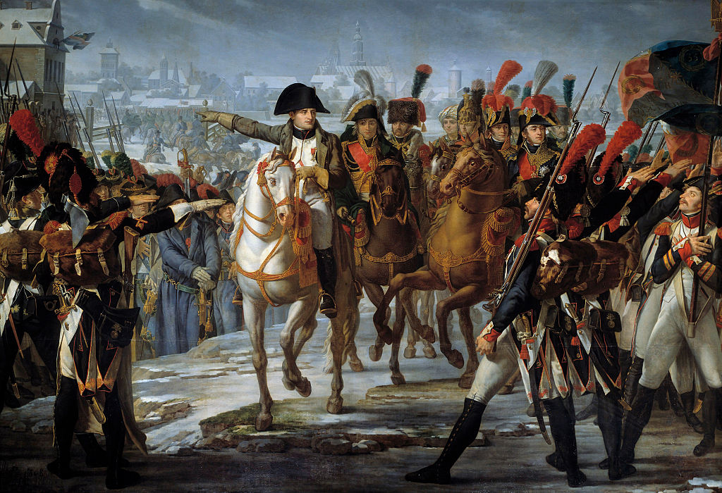 Emperor Napoleon I (1769-1821) haranguing his 2nd Corps troops on the Lech bridge, before the attack of Augsburg on 12 October 1805. Painting by Claude Gautherot (1765-1825), 1808. 3,85 x 6,2 m. Castle Museum, Versailles, France (Photo by Leemage/Corbis via Getty Images)