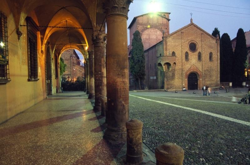 Italy, Bologna, View of Piazza Santo Stefano with Chiesa del Crocifisso