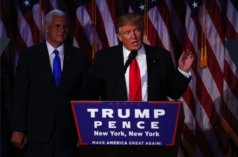U.S. President-elect Donald Trump speaks during an election night party at the Hilton Midtown hotel in New York, U.S., on Wednesday, Nov. 9, 2016. Trump was elected the 45th president of the United States in a repudiation of the political establishment that jolted financial markets and likely will reorder the nation's priorities and fundamentally alter America's relationship with the world. Photographer: Andrew Harrer/Bloomberg