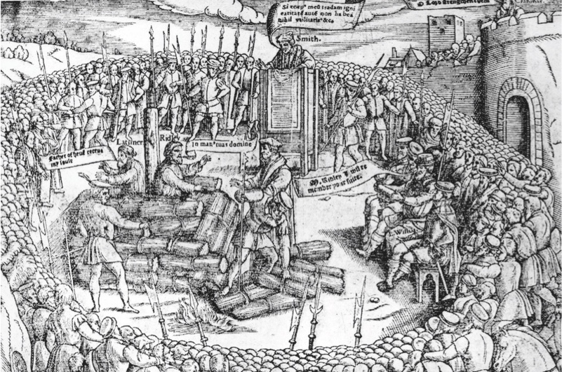 Protestant bishops Hugh Latimer and Nicholas Ridley are burnt at the stake in Oxford, 16th October 1555. Thomas Cranmer, the Archbishop of Canterbury, watches from the tower on the right, only months before his own execution. Original Publication : Fox's Book of Martyrs. (Photo by Hulton Archive/Getty Images)