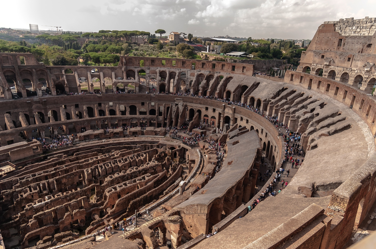 ROME, ITALY - OCTOBER 3: Overview taken from the top of the Colosseum during a press preview of the opening of the 4th and 5th level of the monument. on October 3, 2017 in Rome, Italy. (Photo by Stefano Montesi - Corbis/Corbis via Getty Images)