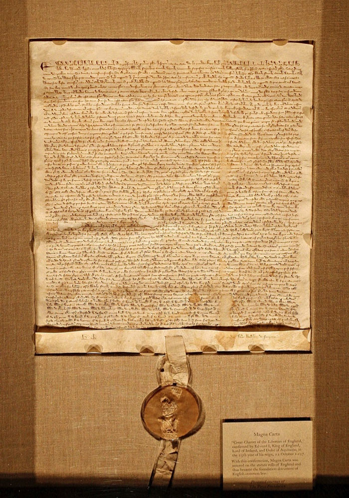 The iconic manuscript The Magna Carta will be presented for sale on December 18th by Sotheby's in New York.  It is the most famous single document in existence and this copy is one of fewer than twenty, and the only one likely to be sold.  Photograph: Timothy Fadek for Bloomberg News