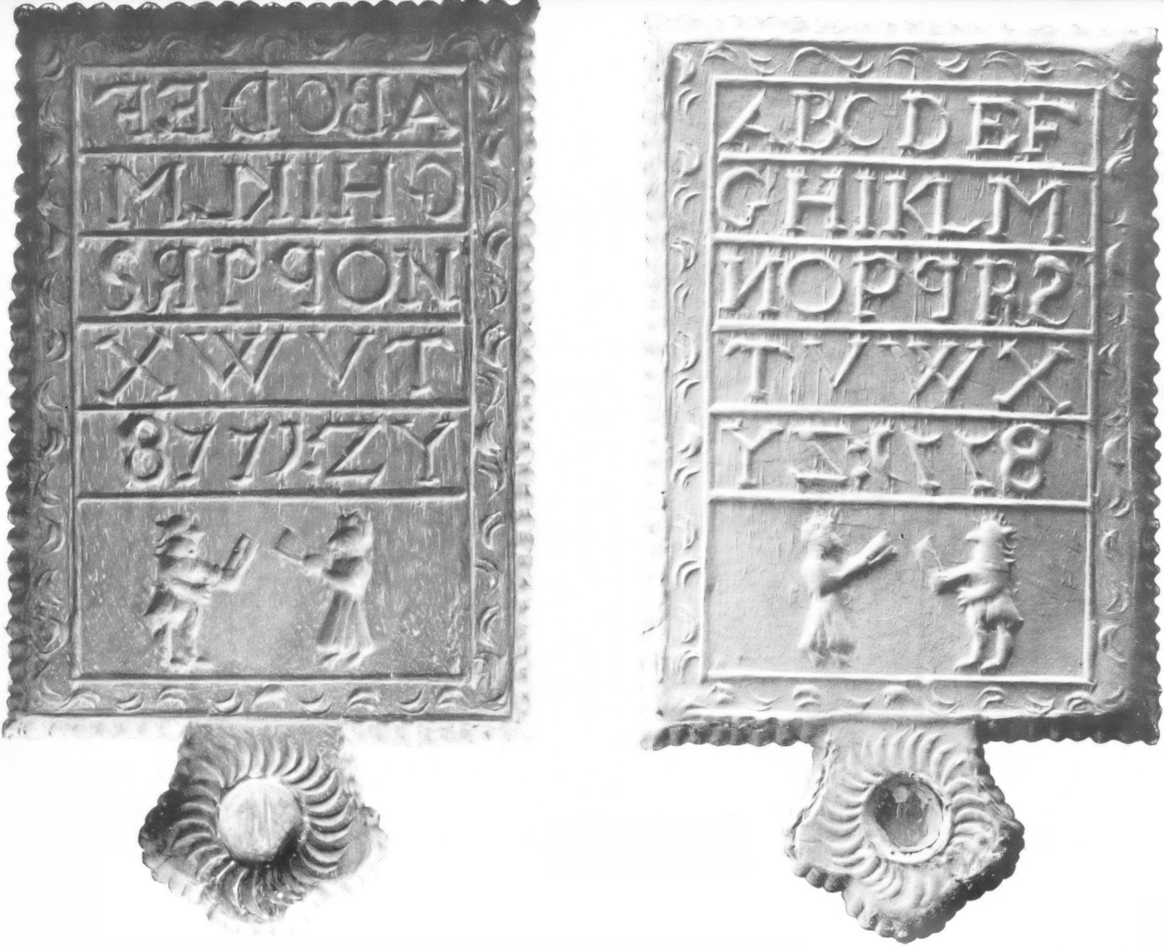 Gingerbread hornbooks, based on the wooden and leather educational hornbooks, were blocks of alphabetical letters or Roman numerals designed as learning tools for children.