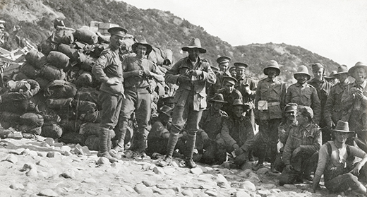 Australian troops (widely known as 'Diggers') at Anzac Cove in April 1915