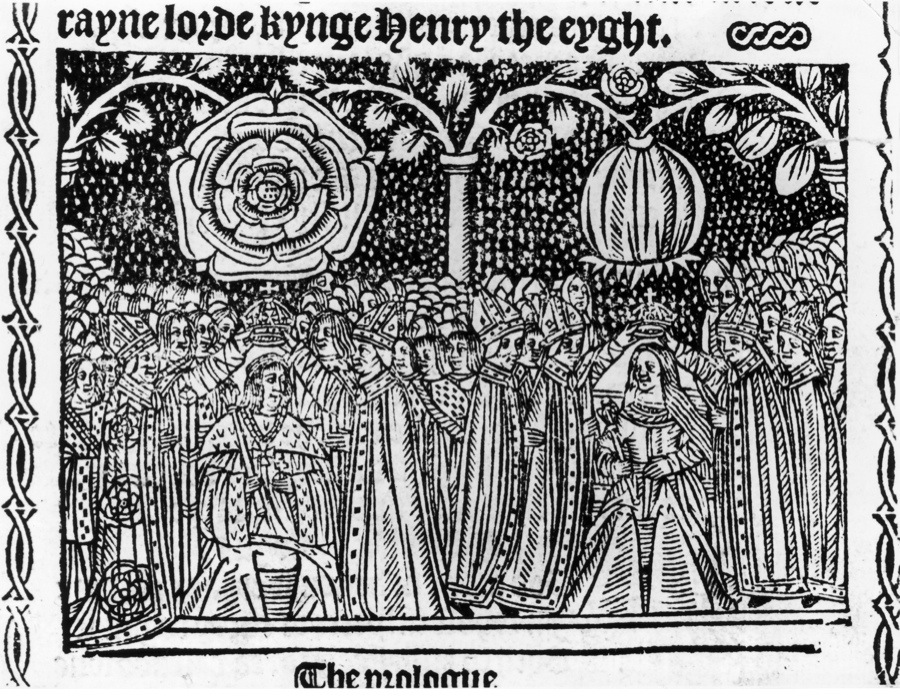 King Henry VIII (1491 - 1547) and his wife Catherine of Aragon (1485 - 1536) are crowned at Westminster Abbey, June 1509. They are surmounted by Tudor Roses, one open, one in bud. (Photo by Hulton Archive/Getty Images)