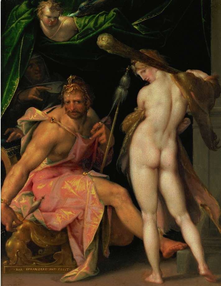 UNSPECIFIED - CIRCA 1600: Hercules and Omphale. Hercules is sold as a slave to Omphale, Queen of Lydia, to atone for the murder of Iphtios and the theft of the tripod of Delphi. The hero is forced to wear Omphale's clothes and jewelry. Copper, 24 x 19 cm. (Photo by Imagno/Getty Images) [Herkules und Omphale. Kupfer.]