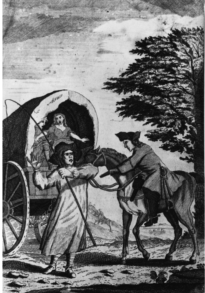 Circa 1680, The highwayman John Cottingham robbing a mail wagon. (Photo by Hulton Archive/Getty Images)