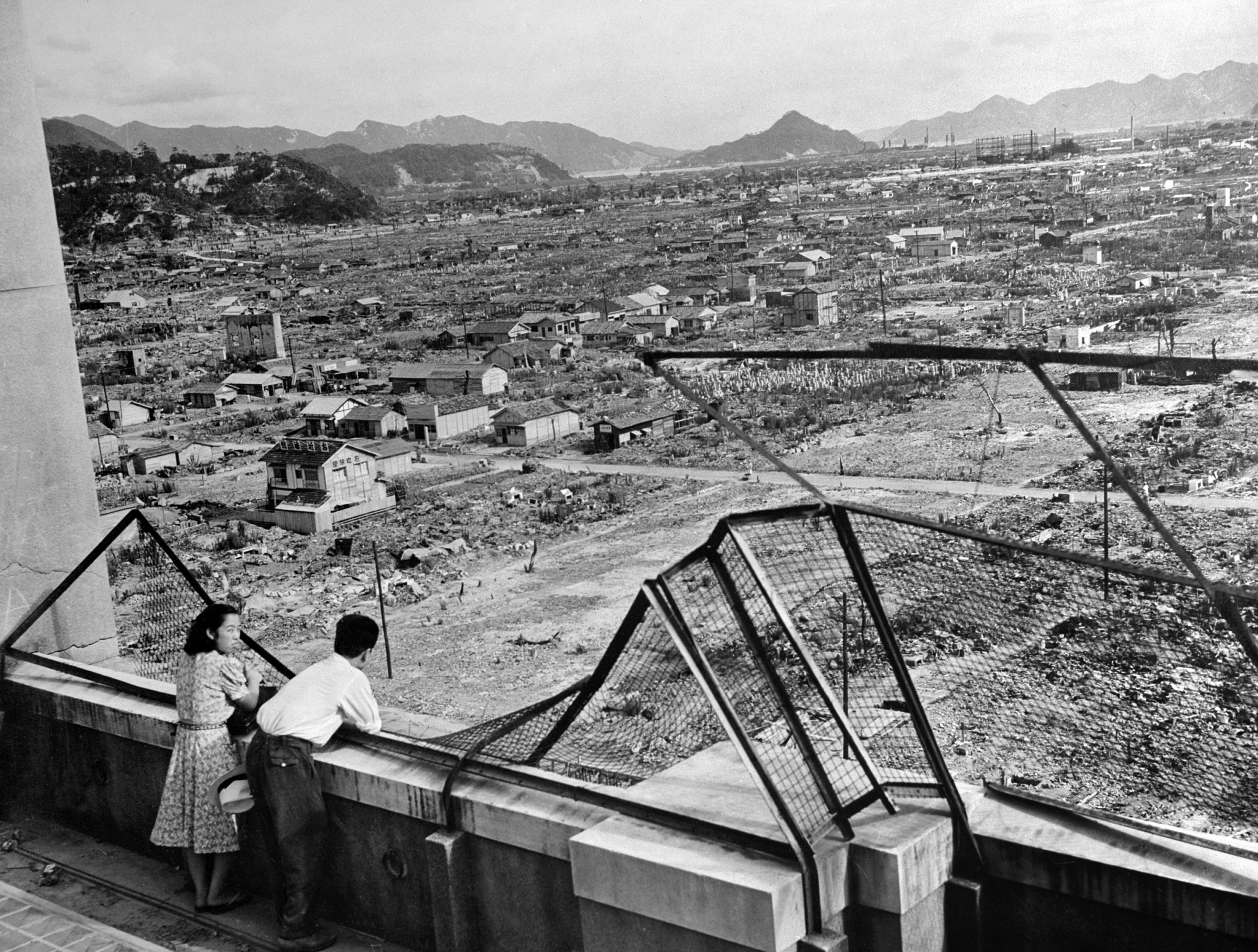 Picture showing the devastated city of Hiroshima following the US nuclear bombing