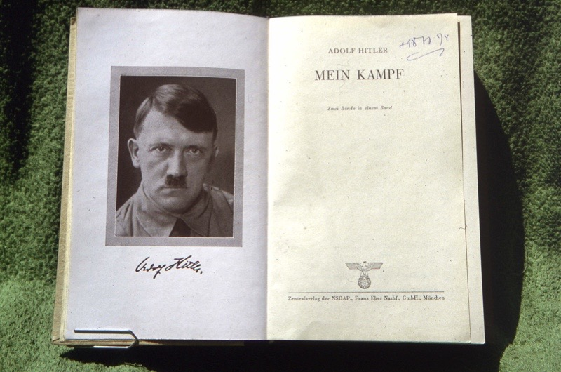 """UNSPECIFIED - CIRCA 1925:  Flyleaf of an original edition of """"Mein Kampf"""" by Adolf Hitler (1889-1945), German statesman.  (Photo by Roger Viollet/Getty Images)"""