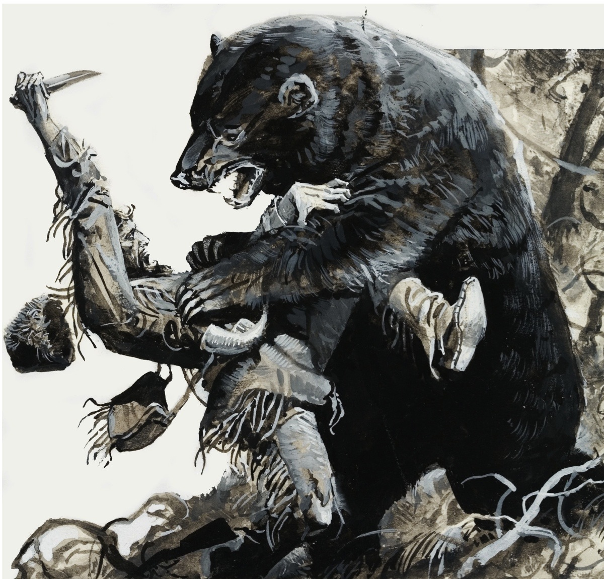 LAL278830 Hugh Glass being savaged by a bear, 1978 (gouache on paper) by Baraldi, Severino (b.1930); Private Collection; (add.info.: Hugh Glass (c.1780-1833) was an American fur trapper and frontiersman;); © Look and Learn; Italian,  out of copyright