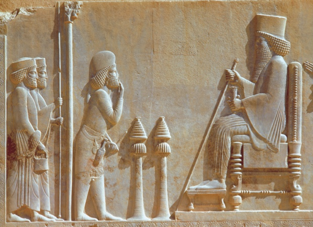 ca. 5th century B.C. --- Wall Relief Depicting A Mede Officer with Two Persian Guards Before King Darius the Great --- Image by © Gianni Dagli Orti/CORBIS