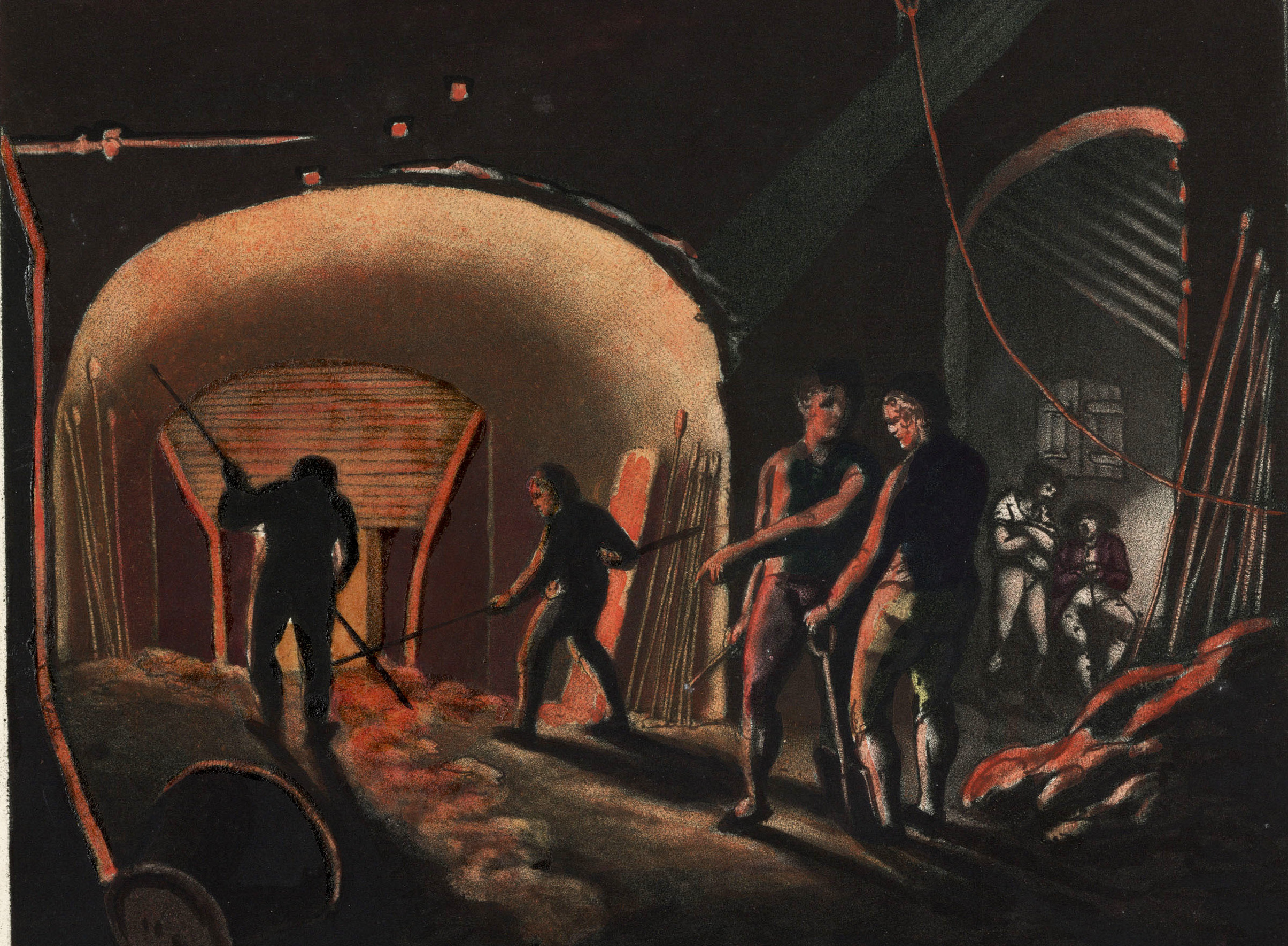 Painting of men working in a foundry