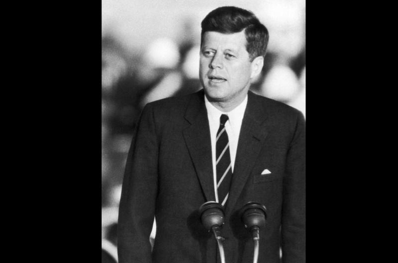John F Kennedy in a televised debate with Richard Nixon, November 1960.
