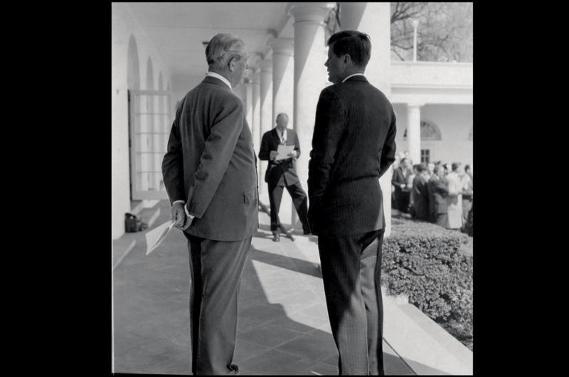 JFK at the White House with Harold Macmillan, April 1961