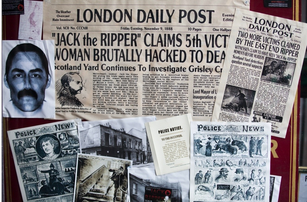 D23FPW The London Post November 9th 1888 Clippings of the Fifth and final victim of the notorious serial killer Jack the Ripper. Image shot 01/2013. Exact date unknown.