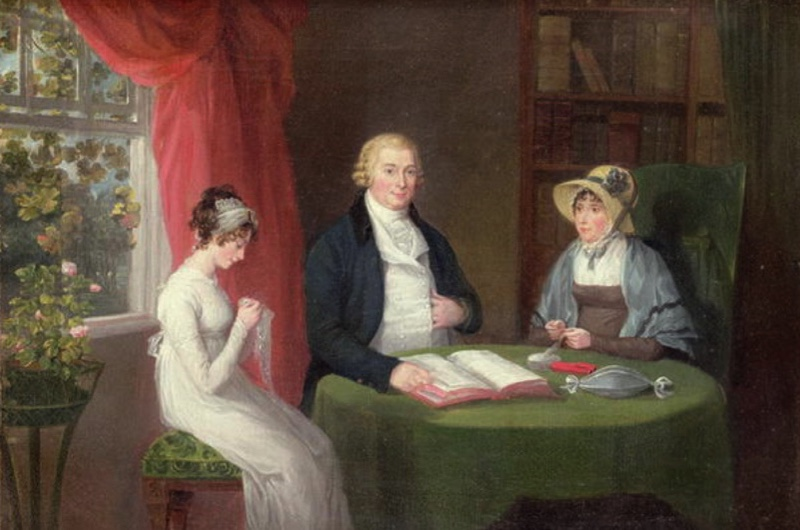Group portrait at a drawing room table by Maria Spilsbury (1777-c 1823). (Photo © Bonhams, London, UK / Bridgeman Images)