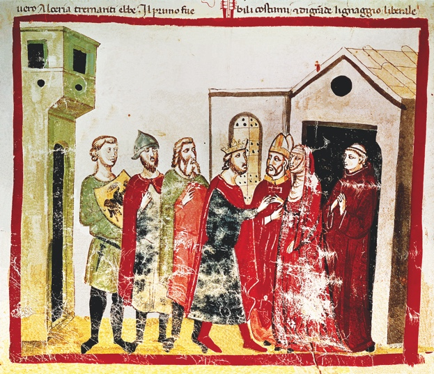 VILLANI GIOVANNI.     Gregory VII (Gregorio VII), pope from 1073 to 1085. Library of the Vatican. Chronicle . Audience in Canossa in 1077 - Henry IV of Germany asking for Pope Gregory VII and Matilda's forgiveness. . Credit: Album / Oronoz