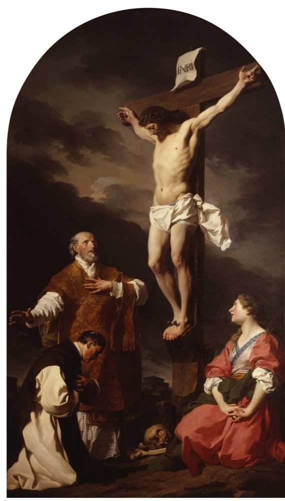 """""""Crucifixion with Mary Magdalene, St. Eusebius and St. Philip Neri, by Pierre Subleyras, 18th century, oil on canvas. Italy, Lombardy, Milan, Brera Collection. Whole artwork view. Crucifixion with Saints Eusebius standing, Philip Neri and Mary Magdalene kneeling, skull and bones at the foot of the cross. (Photo by Cesare Somaini/Electa/Mondadori Portfolio via Getty Images)"""""""