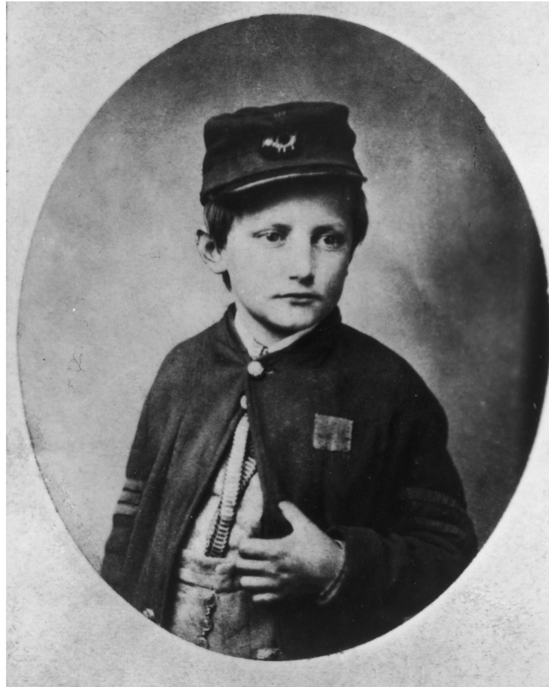 John Clem (Johnny Clem, 1851-1937), aged 13, who served as a drummer boy in the Union Army in the American Civil War. Location unknown, USA, circa 1864. (Photo by Fotosearch/Getty Images).