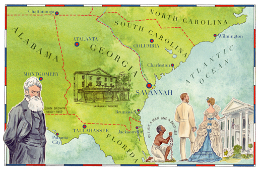 An illustrated map of Savannah, Georgia