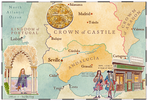An illustrated map of Seville.