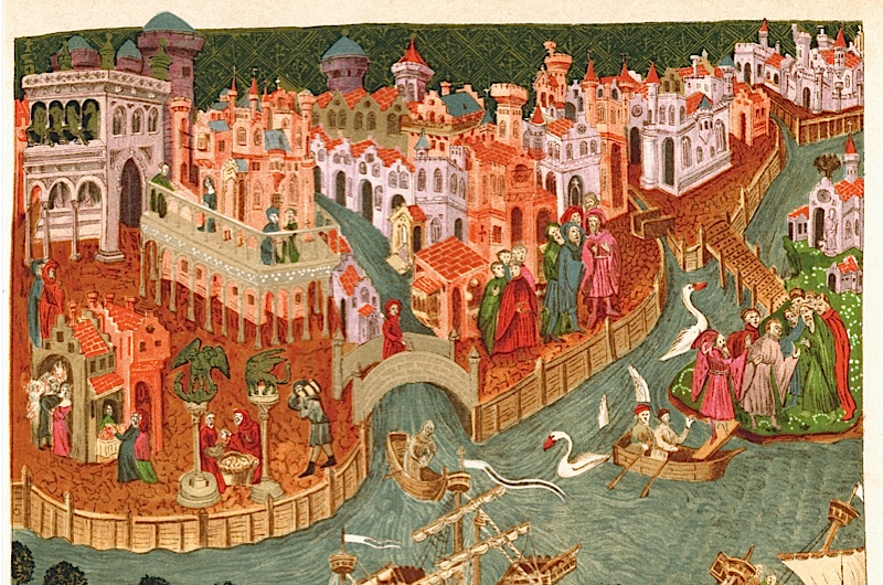Venice in 1338, after a manuscript in the Bodleian Library. (Bridgeman Art Library)