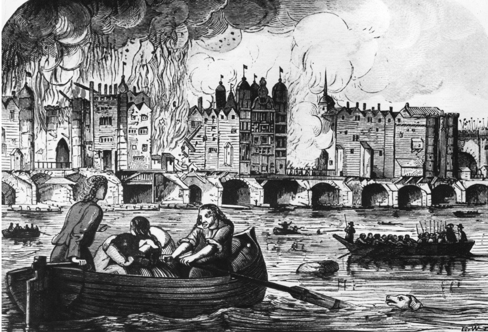 September 1666, London Bridge on fire during the great fire of London. (Photo by Hulton Archive/Getty Images)
