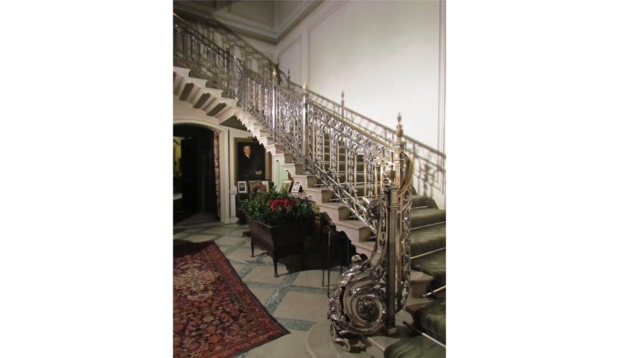 View of silver-plated staircase at Manderston house.