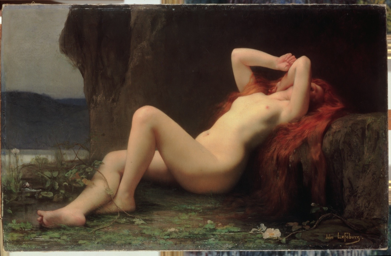 Mary Magdalene in the Cave, 1876 (oil on canvas) by Jules Joseph Lefebvre (1836–1912). Mary's naked body is seen lying at the site where Jesus had lain. (State Hermitage Museum, St Petersburg, Russia/Bridgeman Images)
