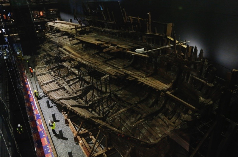 PORTSMOUTH, ENGLAND - JULY 19: Henry VIII's warship, the Mary Rose after a £5.4m museum revamp on July 19, 2016 in Portsmouth, England. The ship, which was raised from the Solent in 1982, was launched in Portsmouth in 1511 and sank in 1545 at the Battle of the Solent, (Photo by Olivia Harris/Getty Images)