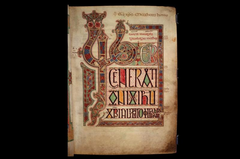 A page from Lindisfarne Gospels depicting St Matthew's Gospel.