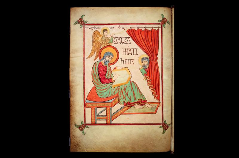 A page from Lindisfarne Gospels depicting St Matthew.