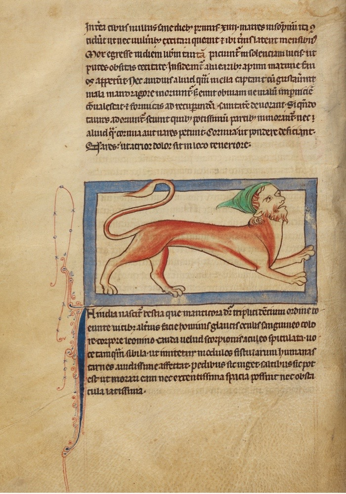 EE00X2 A Manticore; Unknown; England, Europe; about 1250 - 1260; Pen-and-ink drawings tinted with body color and translucent washes