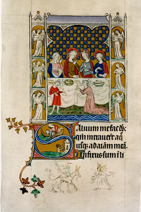 The marriage feast at Cana, early 14th century. Below, in an initial letter 'S', the throwing overboard and casting up of Jonah. From the Queen Mary Psalter, produced in England. Illustration from School of Illumination, Reproductions from Manuscripts in the British Museum, Part III, English 1300 to 1350, (British Museum, Longmans, Green and Co, London, 1921). (Photo by The Print Collector/Print Collector/Getty Images)