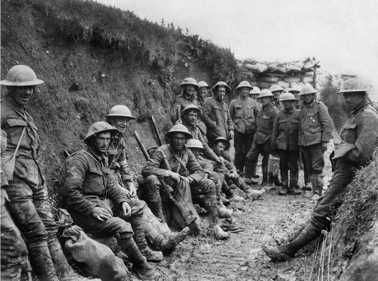 Ministry Of Information First World War Official Collection, Men of Royal Irish Rifles resting in a communication during the opening hours of the Battle of the Somme, 1 July 1916. (Photo by Royal Engineers No 1 Printing Company/ IWM via Getty Images)
