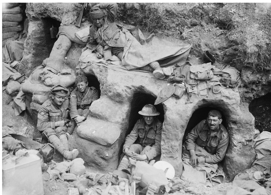 Ministry Of Information First World War Official Collection, Men of the Border Regiment resting in shallow dugouts near Thiepval Wood during the Battle of the Somme during , August 1916. (Photo by Lt. Ernest Brooks/ IWM via Getty Images)
