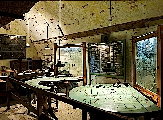DOVER CASTLE, Kent. Secret Wartime Tunnels. Interior view of the Anti Aircraft Operations Room in Hellfire Corner.