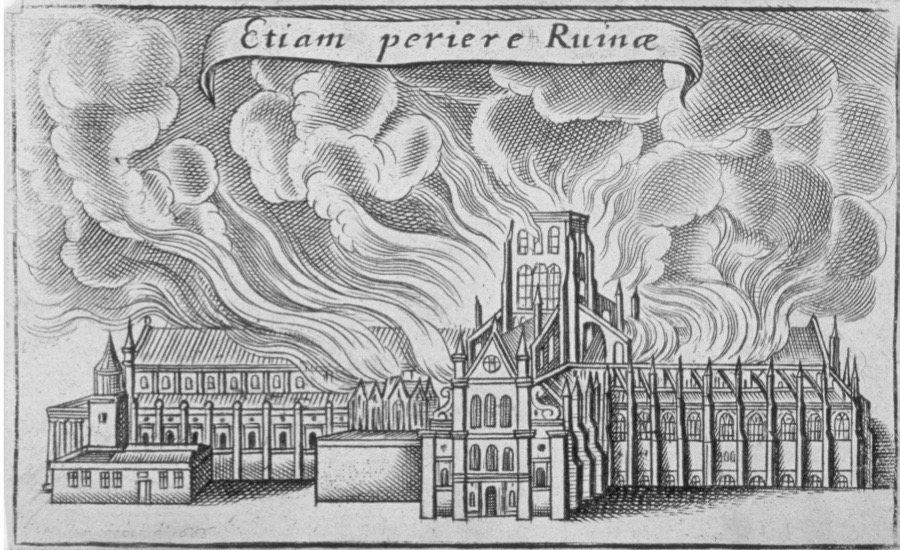 Old St Paul's Cathedral burning in the Great Fire of London, 1666. (Photo by Guildhall Library & Art Gallery/Heritage Images/Getty Images)