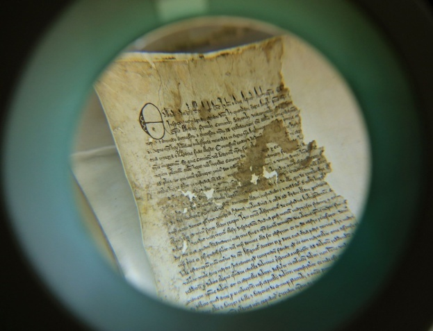 Part of the original Magna Carta from the issue made in 1300 by King Edward l to the borough of Sandwich in Kent. The document was discovered in the archives at Kent County Council's Kent History and Library Centre in Maidstone. (Photo by Gareth Fuller/PA Wire)