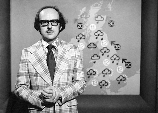 WEATHERMAN MICHAEL FISH AS HE LOOKED WHEN HE MADE HIS 1ST TELEVISION APPEARANCE 20 YEARS AGO. A PROGRAMME MARKING 40 YEARS OF WEATHER FORECAST TRANSMISSIONS WILL BE SHOWN ON BBC1.