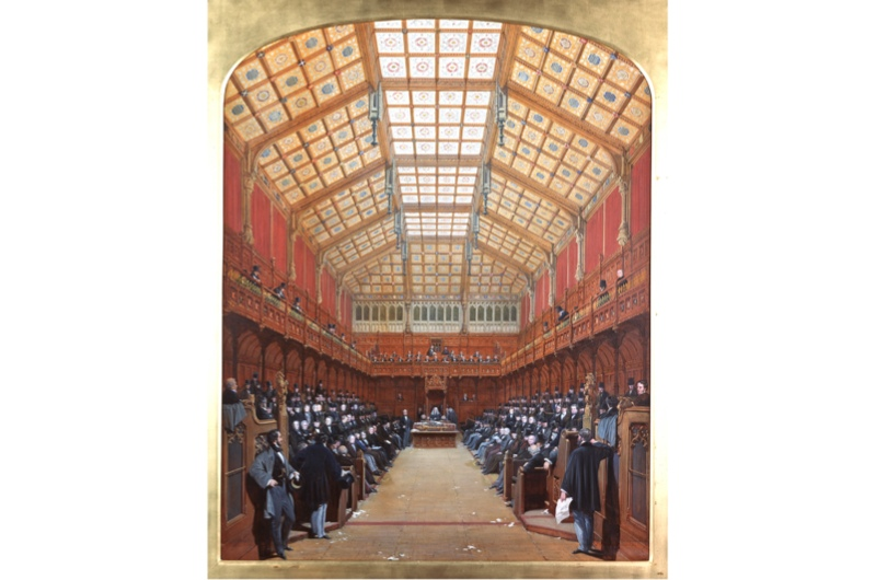 A depiction of the interior of parliament
