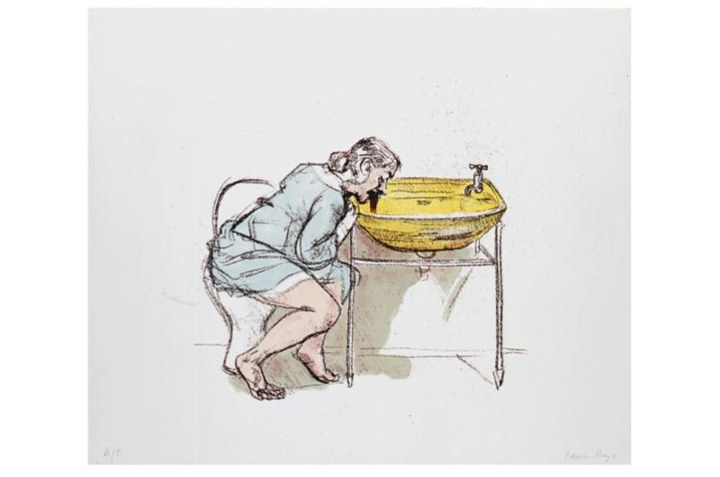 A lithograph displaying a man drinking alcohol from a tap