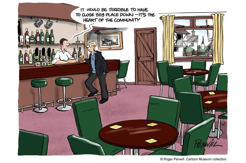 A cartoon showing a man in a bar
