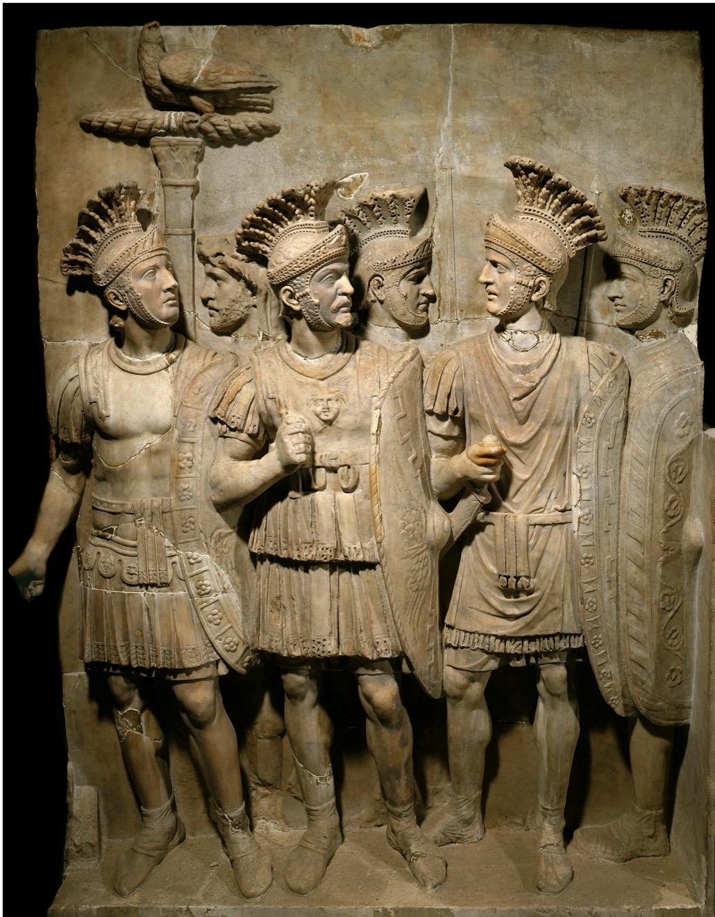 The Praetorian Guard, legionnaires and elite soldiers. Marble relief, (162 x 126 cm), Roman art. Musee du Louvre, Paris, France (Photo by Leemage/Corbis via Getty Images)