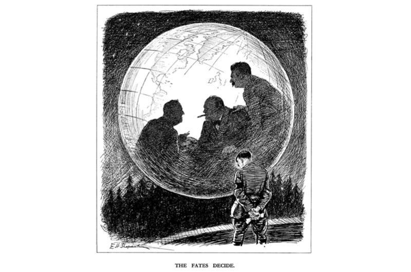 Punch cartoon depicting FD Roosevelt, Winston Churchill and Joseph Stalin